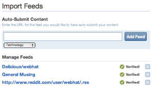 Importing Reddit and del.icio.us feeds into Digg
