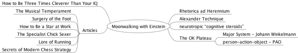 Mind Map of Memory Techniques and sources in Moonwalking with Einstein